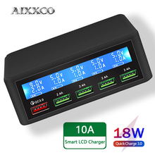 Aixxco Usb Snellader 40W 5 Poort Led Display Quick Charge 3.0 Fast Charger Desktop Laadstation Iphone X 8 7 6, ipad