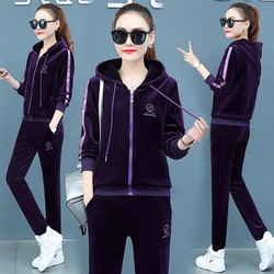 Winter Long  Sleeve hooded cardigan plus thick double-sided gold velvet two-piece womens sports and leisure Embroidery suit