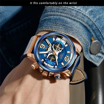 2021 LIGE Casual Sports Watch for Men Top Brand Luxury Military Leather Wrist Watches Mens Clocks Fashion Chronograph Wristwatch 5