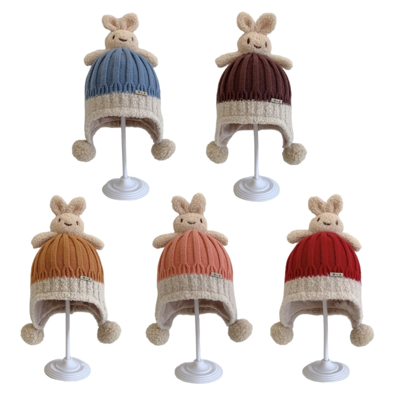 896E Kawaii Rabbit Ears Hats Wool Knit Hat Braided Knit Hat Personality Outdoor Trend Casual Warm Hat Autumn Winter