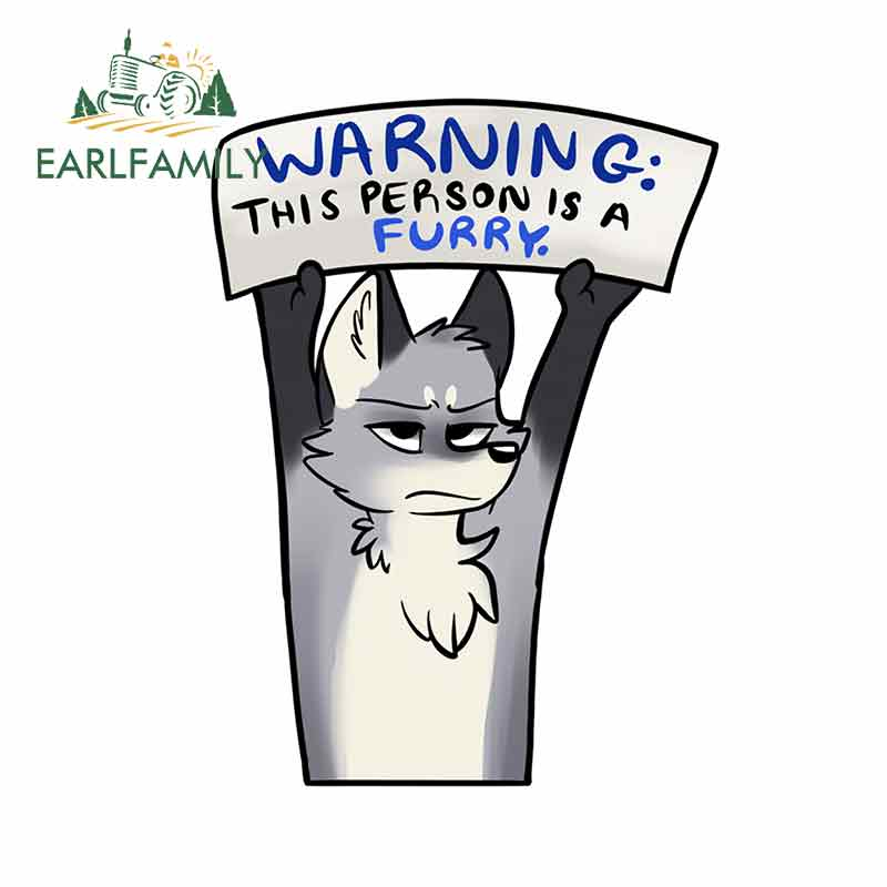 EARLFAMILY 13cm X 9.6cm For Warning_ Furry - Wolf _ Artworktee Fine Decal Personality Car Stickers For RV Vinyl Car Wrap