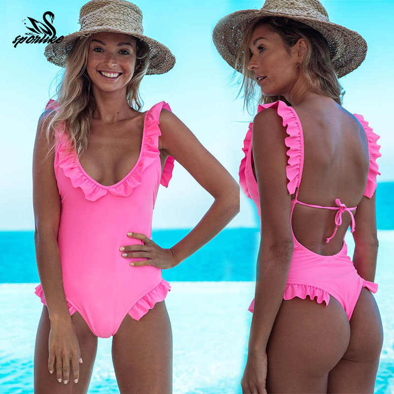 Sexy ramię wzburzyć jednoczęściowy strój kąpielowy kobiet 2018 Halter Push Up stroje kąpielowe kostiumy kąpielowe bikini Backless Monokini panie