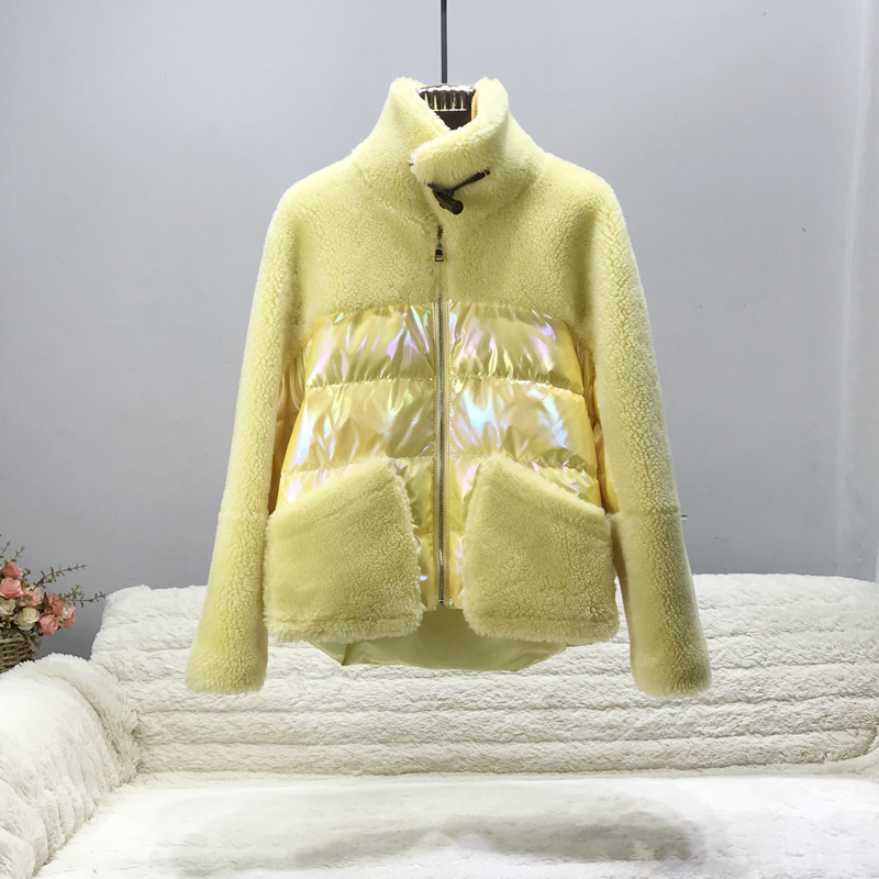Real Fur Coat Winter Jacket Women Wool Sheep Shearing Patchwork Down Coat Stand Collar Natural Outerwear Ladies Jackets