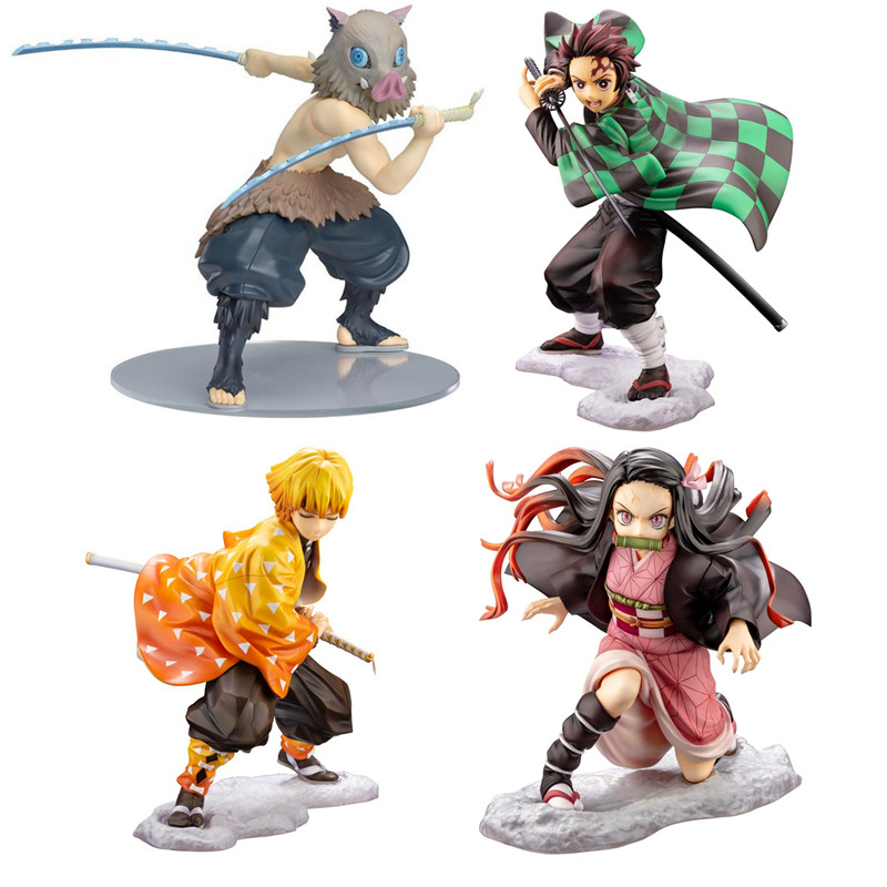 Free shipping Demon Slayer Kimetsu no Yaiba Kamado Tanjirou Agatsuma Zenitsu Kamado Nezuko PVC Action Figure Collection Toys B19