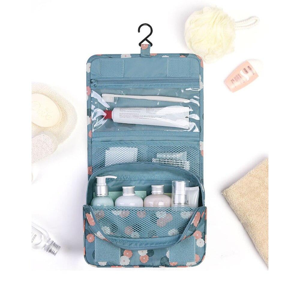 Folding Travel Print Cosmetic Storage Bag Bathroom Hanging Makeup Bags Organizer