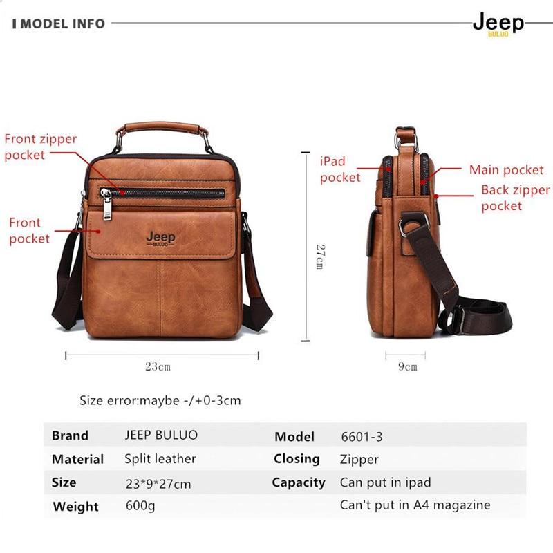 Image 2 - JEEP BULUO Mens Crossbody Shoulder Bags Big Size Split Leather  Handbag Fashion Business Man Messenger Bag High quality Tote Hot  -