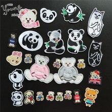 Горячая Распродажа, животные, вышивка, аппликация, железо на пластыре, значок медведь, паста, шитье, панда, наклейки, сделай сам, аксессуары для одежды, принадлежности