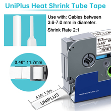 Label-Tape Heat-Shrink-Tube Uniplus Hse231 Industrial-Ribbon Black 12mm White Compatible