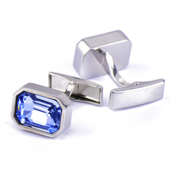 Men's French Classic High Grade Simple Blue Crystal Cuff Links 5