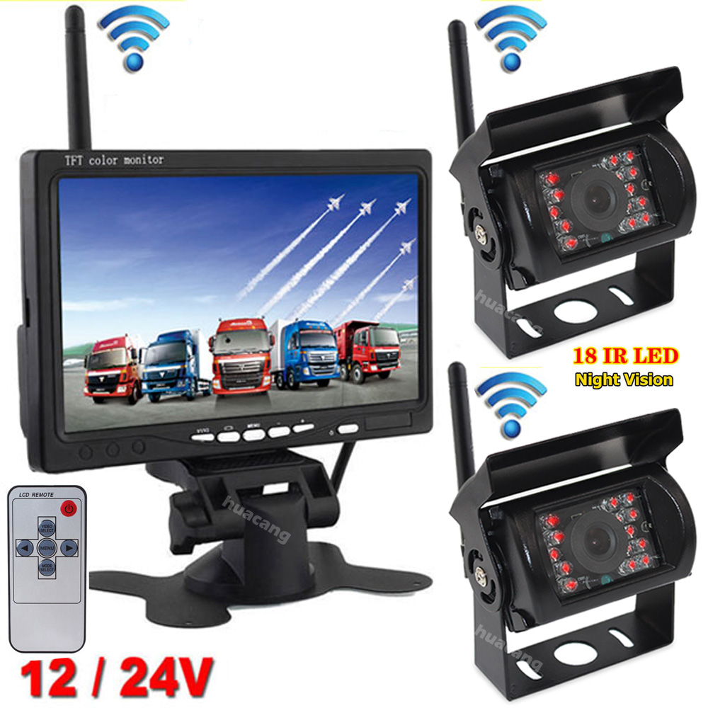 "2x Wireless IR Rear View Reversing Backup Camera 7/"" HD Monitor for Bus Truck RV"