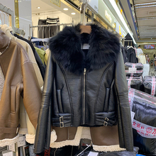 Coat Pu-Jacket Women Short Motorcycle Autumn Winter And Real Clothing Fox-Fur-Collar