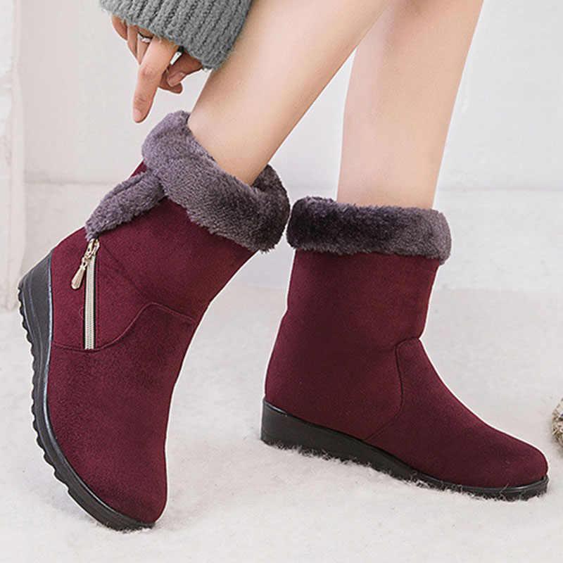 2019 kış kadın botları sıcak peluş ayak bileği kar çizmeler kadın ayakkabıları moda fermuar kadın kışlık botlar artı boyutu Zapatos De Mujer