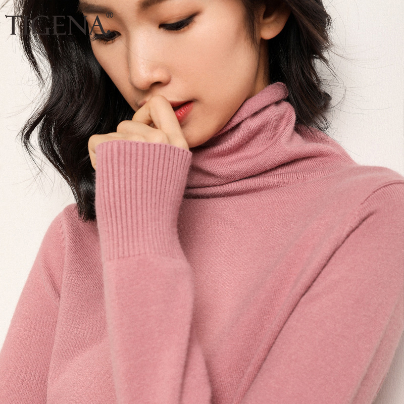 TIGENA 2019 Autumn Winter Sweater Women Turtleneck Long Sleeve Knitted Cashmere Sweater Female Jumper Ladies Tops Pink Yellow