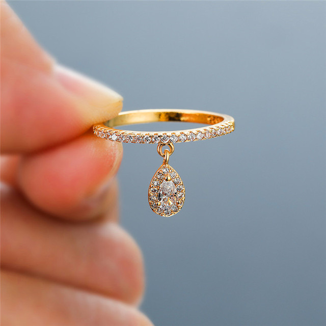 Female Luxury Water Drop Pendant White Zircon Rings For Women Yellow Gold/White Gold/Rose Gold Filled Crystal Ring Boho Jewelry 2