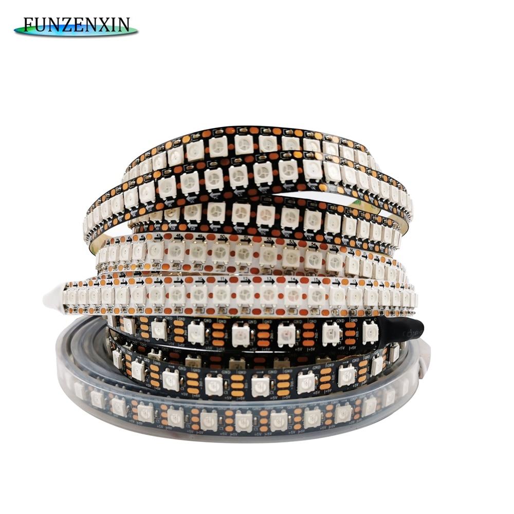 Bande lumineuse RGB Led intelligente, WS2812B WS2812, adresse individuelle, 5m, 74/96/144 diodes/m, noir/blanc, PCB, étanche IP30/65/67, DC5V