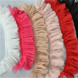 Color Double-layer Chiffon Mesh Pull Wrinkle Leaf Lace Fabric DIY Doll Baby Children Clothing Accessories Cuff Skirt Swing Trim(China)