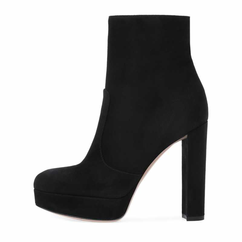 Mais tamanho 46 botas femininas dedo do pé redondo grosso salto alto plataforma tornozelo sapatos moda preto cinza dedo do pé redondo zip botas de inverno feminina