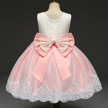 Infant Baby Princess Dress 1st Birthday Bow Dress Toddler and Baby Girl Tutu Lace Dress Christening Gown Baptism Clothes Newborn(China)