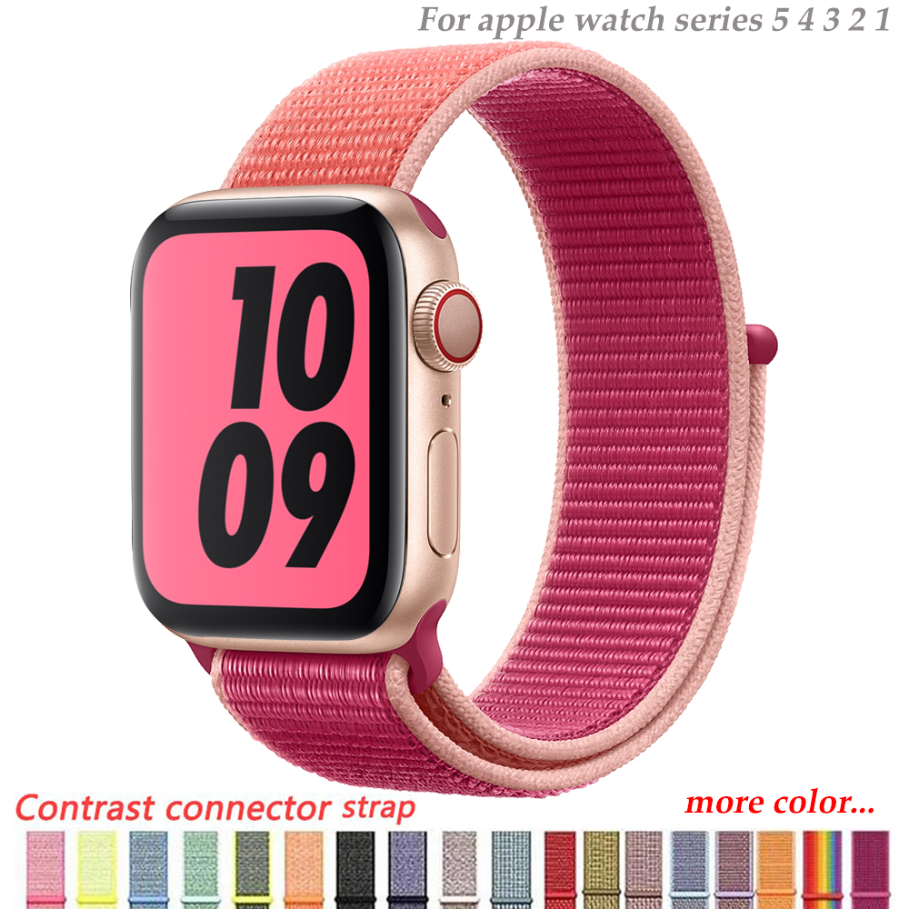 Nylon Strap For Apple Watch 5 4 Band 44mm/40mm Pulseira Apple Watch 42mm/38mm Iwatch Series 5/4/3/2 Colorful Connector Watchband