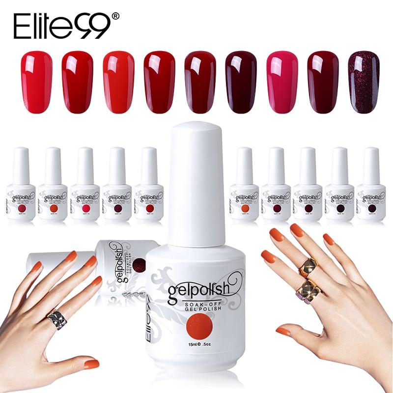 Elite99 15ml Wine Red Color Gel Polish Long Lasting Gel Nail Polish Soak Off UV LED Gel Varnishes DIY Nail Art Design Polish Gel