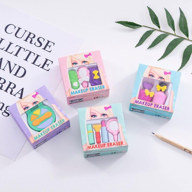 1 Set Fashion Girl Cosmetics Pencil Eraser Gift Box Perfume Bag Rubber Eraser Kawaii Stationery School Supplies