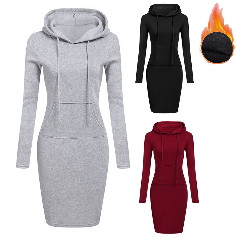 BKMGC High Quality Sweatshirt Autumn Winter Warm Casual Sport Long-sleeve Dress Women Clothing Hooded Drawstring Pocket Dress