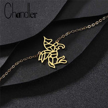 Chandler Origami Unicorn Bracelet Stainless Steel Wing Cutout Horse Chain Bracelete For Women Men Animal Drop Shipping Wholesale(China)