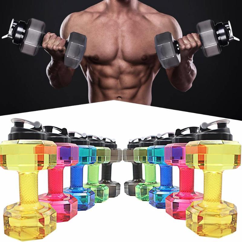 2.2L Sports Water Bottles 5 Colors Leakproof Portable Unbreakable Outdoor Sports PP Bottle Shaker BPA Fitness Dumbbell Unisex