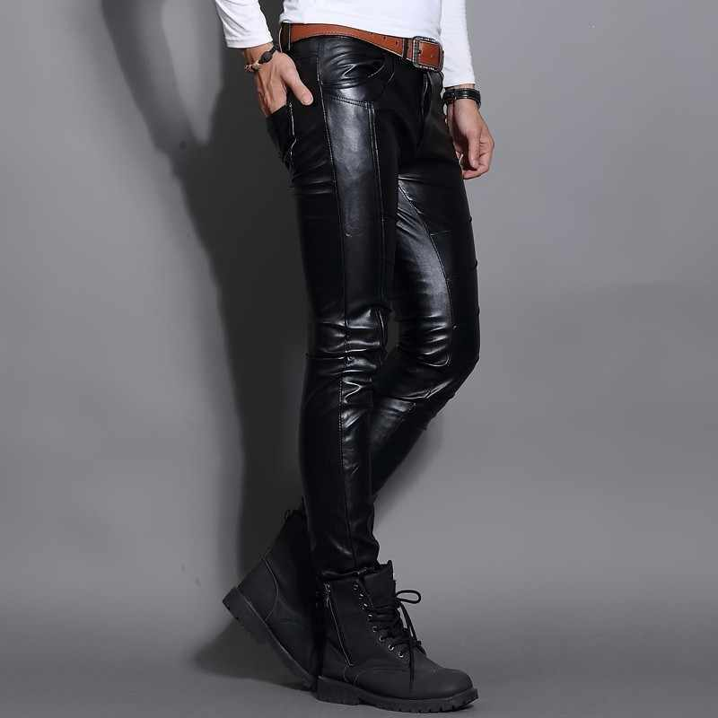 New Fashion PU Leather Mens Pants Winter Fleece Lining Trousers Motorcycle Punk Man Slim Fit Trousers Night Club Skinny Pants