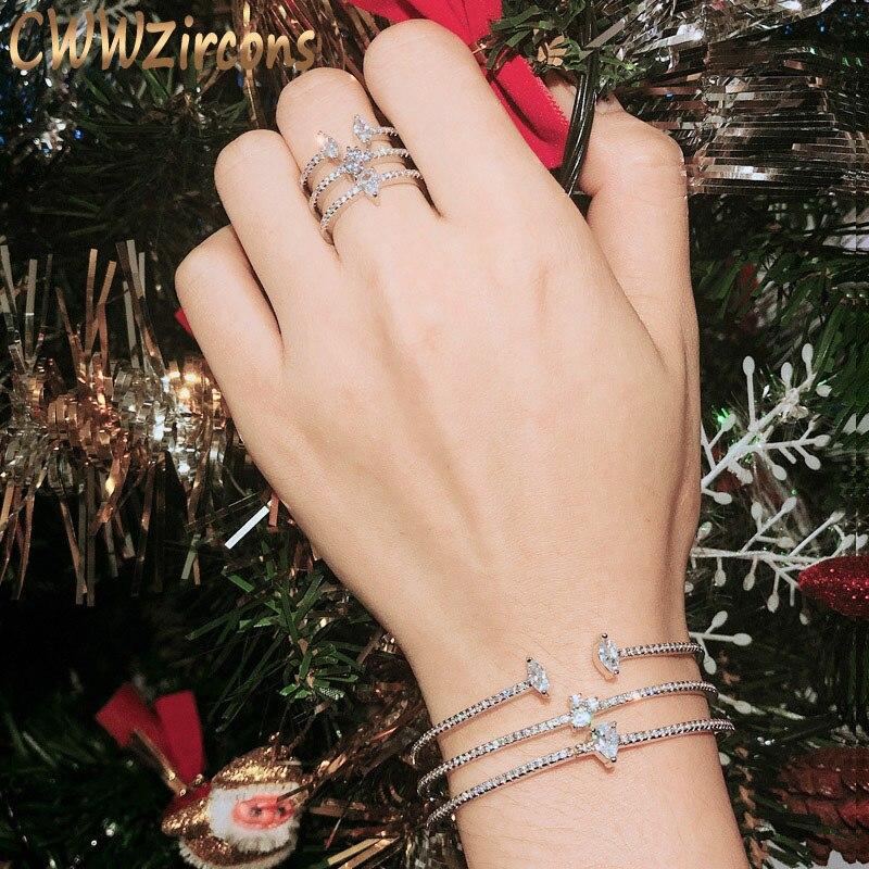 CWWZircons nouveauté forme ronde exquis Micro pavé manchette Bracelets bracelet et anneau ouvert ensemble pour les femmes Bijoux Bijoux T135