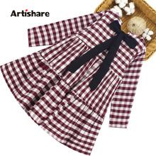 Sukienka dla dziewczynki wzór w kratkę sukienki dla dziewczynek duża kokarda sukienka dziecięca Casual Style odzież dziecięca 6 8 10 12 14 tanie tanio artishare Dziewczyny COTTON POLIESTER 4-6y 7-12y 12 + y CN (pochodzenie) Wiosna i jesień Do kolan O-neck REGULAR Pełne