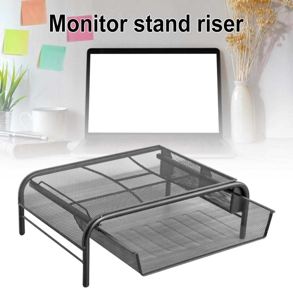 Monitor Stand Riser, Mesh Metal Desktop For Computer/Laptop Printer With With Pull Out Drawer, For Desktop Storage Organizer