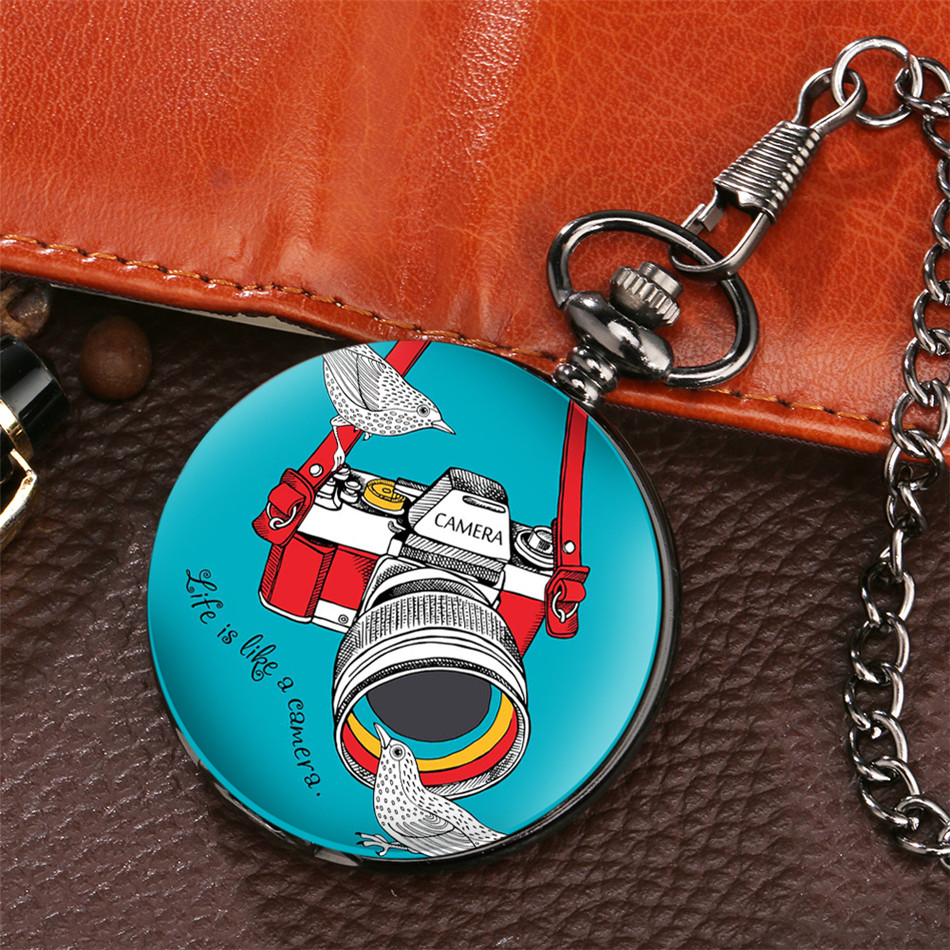 Printed Camera Pattern Quartz Pocket Watch Gifts Men Women Pendant Souvenir Pocket Clock Fob Black Chain Reloj De Bolsillo