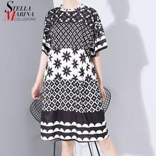新しい女性プラスサイズ 2020 多色プリントミディドレス幾何学的なパターンレディーススタイリッシュなルーズストレートドレス vestidos 5983