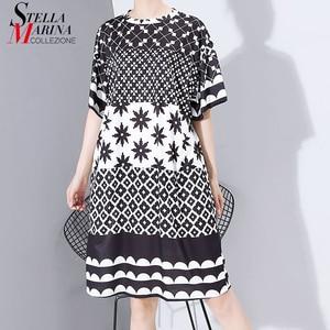Image 1 - Neue Frauen Plus Größe 2020 Multicolor Gedruckt Midi Kleid Geometrische Muster Damen Stilvolle Lose Gerade Kleid Vestidos 5983