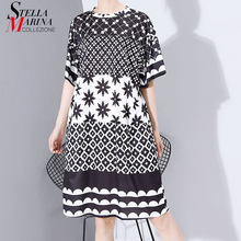 New Women Plus Size 2020 Multicolor Printed Midi Dress Geometrical Patterns Ladies Stylish Loose Straight Dress Vestidos 5983