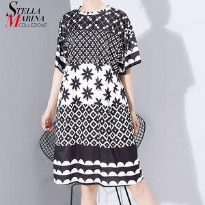 Image 1 - New Women Plus Size 2020 Multicolor Printed Midi Dress Geometrical Patterns Ladies Stylish Loose Straight Dress Vestidos 5983
