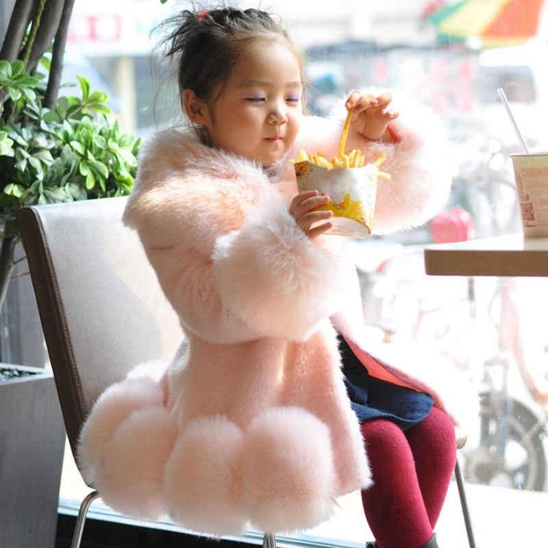 4 カラー 1-12 年幼児子供キッズガールズ冬暖かい厚みフェイクファー生き抜くパーカージャケットコート