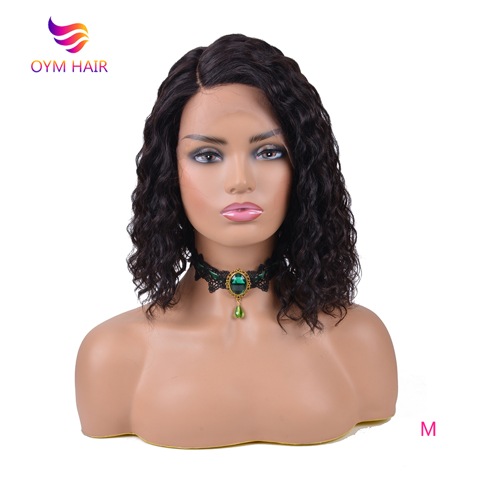 OYM Hair Human Hair Lace Wigs For Women Brazilian Remy Hair Side Part Water Wave Short Bob Wig Pre Plucked U Part Lace Wig