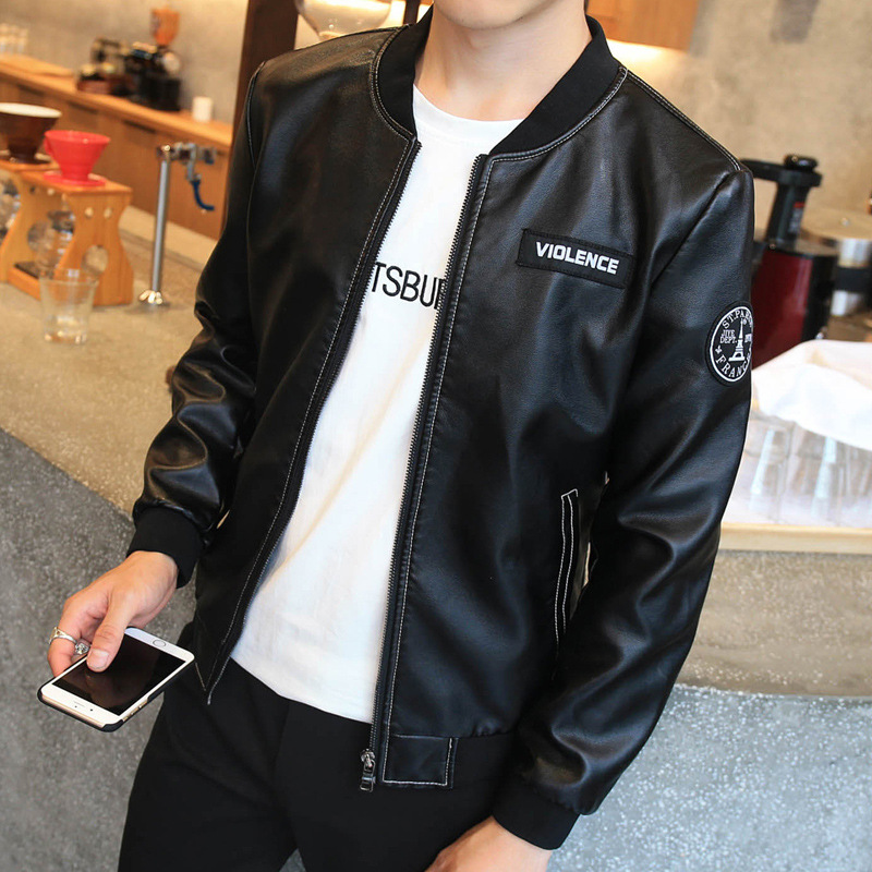 2018 Spring And Autumn New Style Youth Men Solid Color Slim Fit Hong Kong Style Baseball Collar Thin PU Leather Jacket