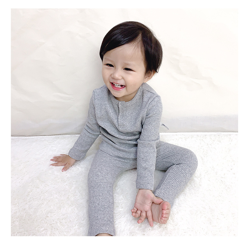Soft Ribbed Toddler Girl Pajamas For Baby Boys Clothes Set Autumn Winter Children Outfits Long Sleeve Tops Pants 2 Pcs Kids Suit (10)