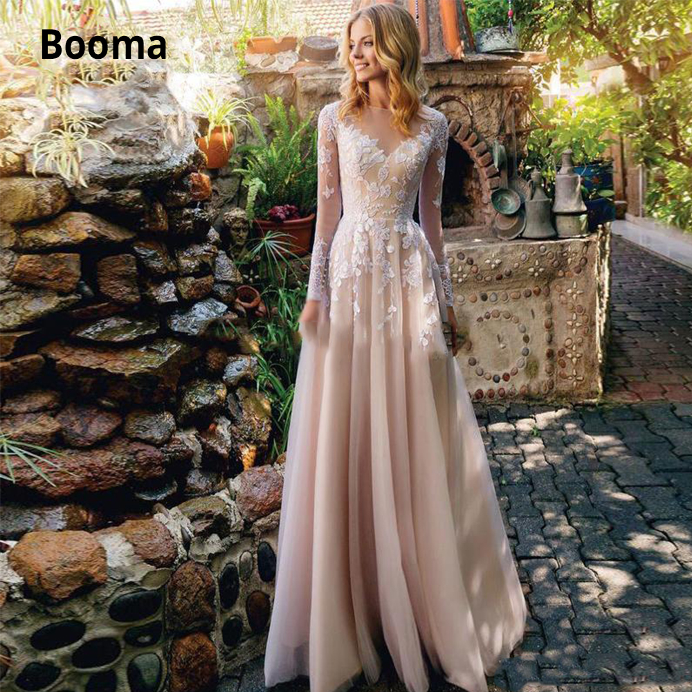 Booma Long Sleeve Lace Wedding Dresses Boho 2020 Tulle Beach Bridal Gowns O-neck A-line Illusion Princess Wedding Gown Plus Size