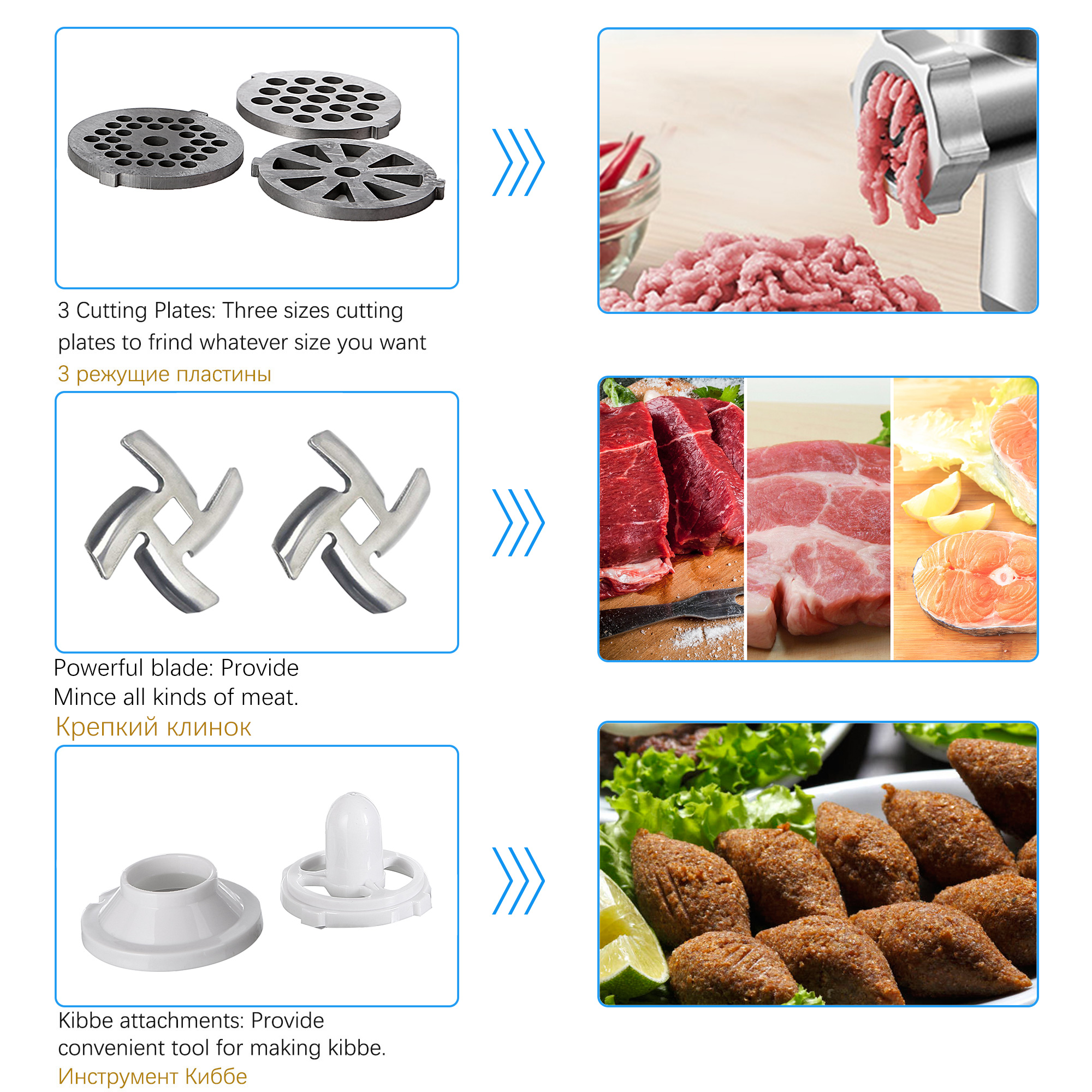 1500W Colorful Stainless Steel Electric Meat Grinders Home Sausage Stuffer Meat Mincer Heavy Duty Household Mincer Sonifer