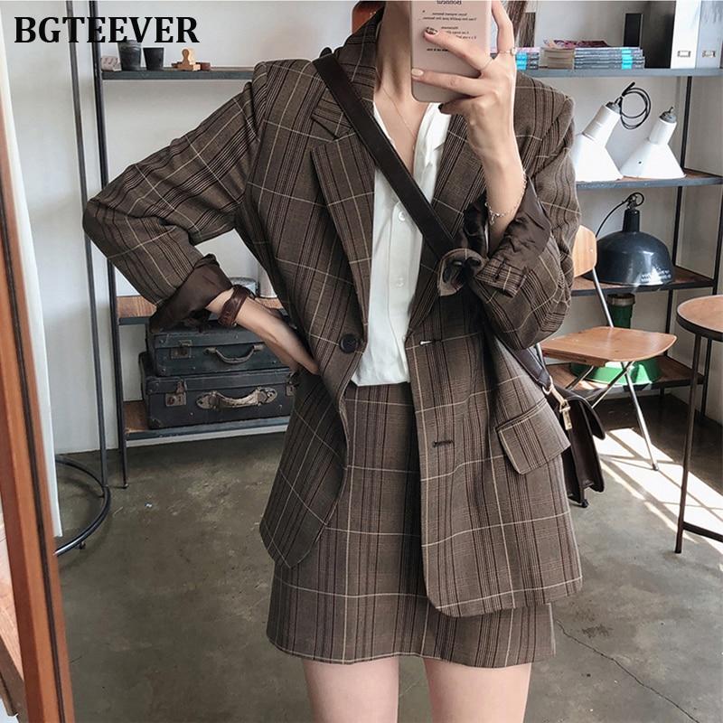 Vintage Two-piece Plaid Blazer Suits Women Single-breasted Jacket & Pencil Skirt Women Skirt Suit Casual Blazer Sets 2019 Autumn