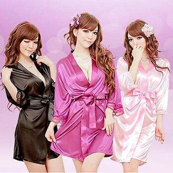 Summer Hot Sale Fashion Sexy Silk Satin Deep V Bathrobe Women Pajamas Elegant Casual Soft Robe Sleep