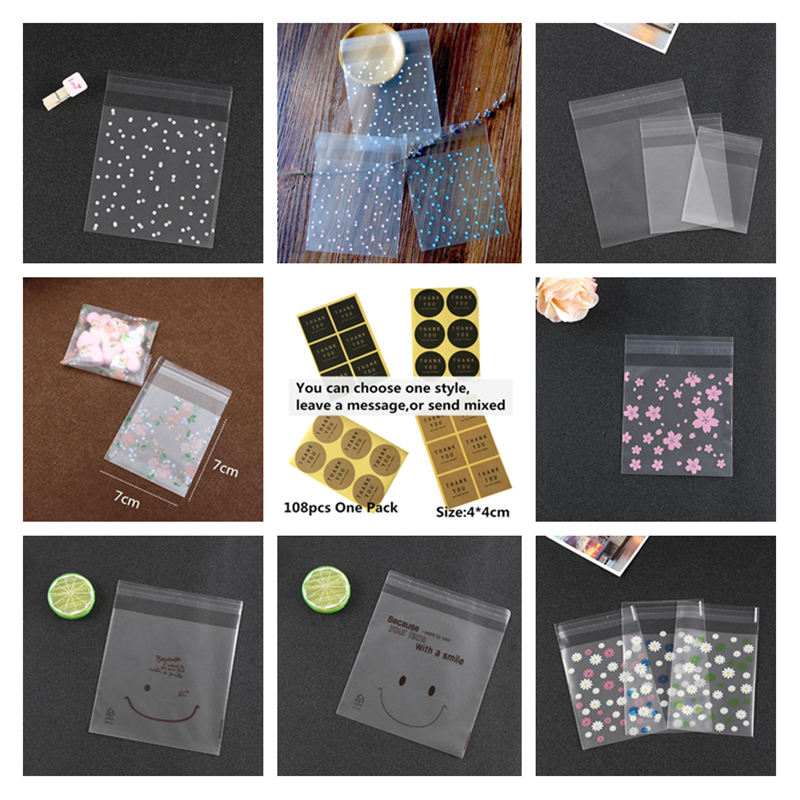 LBSISI Life 100 200pcs Frosted Candy Cookie Chocolate Bag Christmas Gift Bags Plastic Packaging Bags Self Adhesive Sample Soap in Gift Bags Wrapping Supplies from Home Garden