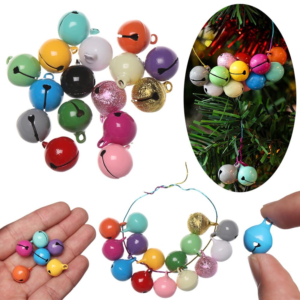 10Pcs Jingle Bells Christmas Decoration Beautiful Iron Loose Metal Beads Xmas Tree Pendants DIY Gifts Material Crafts Christmas,Dark Pink