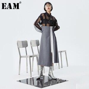 Женская ассиметричная юбка EAM, серая ассиметричная плиссированная юбка с высокой талией, 1S975, 2020