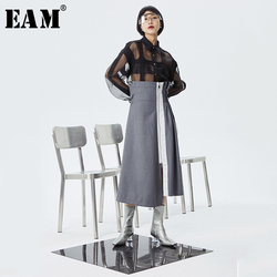 [EAM] High Waist Gray Asymmetrical Pleated Split Temperament Half-body Skirt Women Fashion Tide New Spring Autumn 2020 1S975
