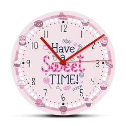 Have A Sweet Time Desserts Theme Wall Clock Modern Design For Bakery Kitchen Girl Room Wall Art Sweetmeats Hanging Wall Watch